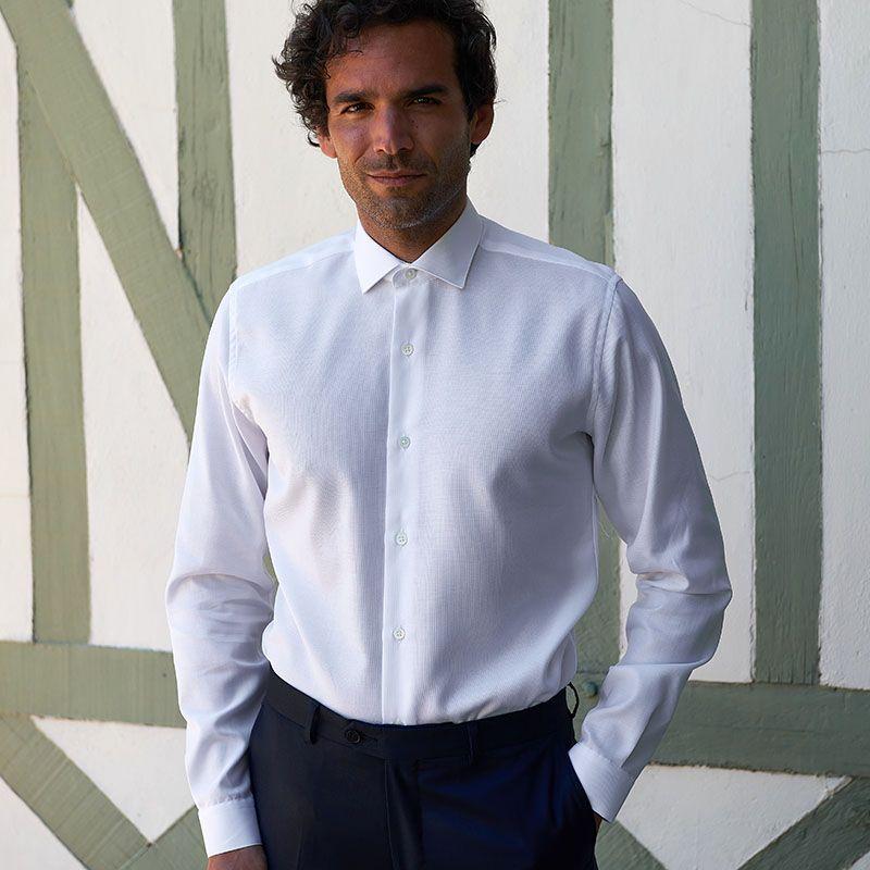 Shark collar shirt white oxford