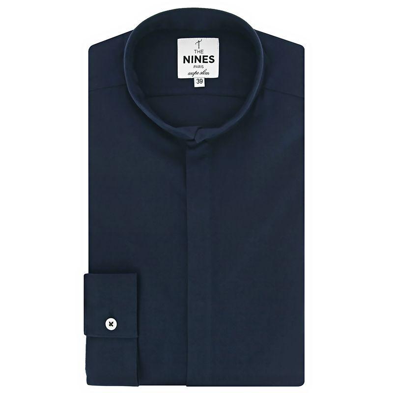 Reverse collar shirt in navy blue flannel