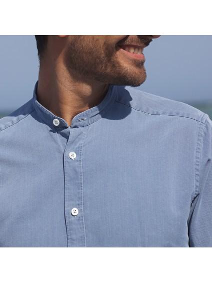 Band collar shirt denim stone wash