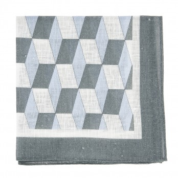 Blue pocket square with cube-shaped patterns in linen