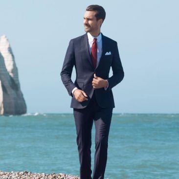 The 4 Seasons Suit - Navy Blue Basketweave
