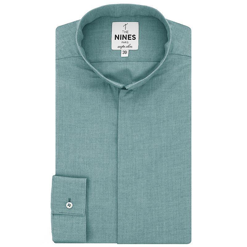 Blue reverse collar shirt oxford