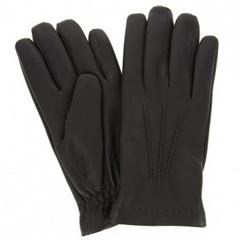 Brown deerskin leather gloves sewn and cashmere lining