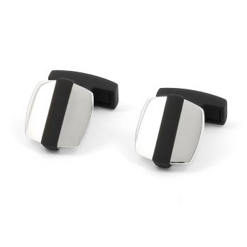 Black and silver square cufflinks - Rhodes