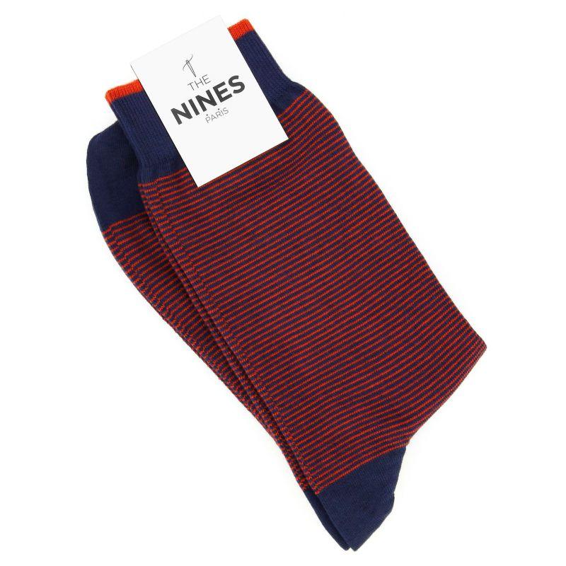 Cotton socks navy blue with orange stripes
