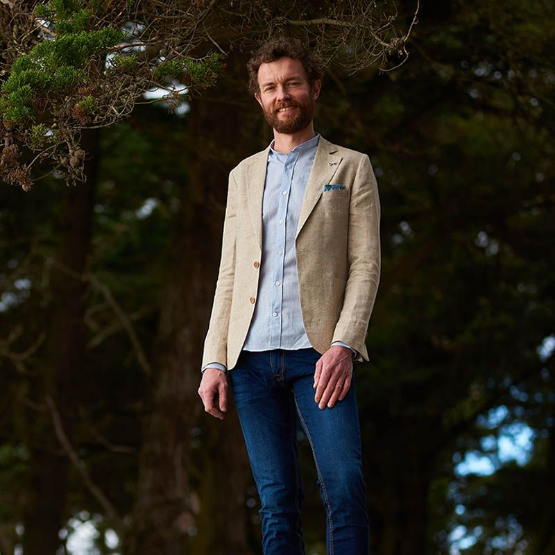 Wool and linen Activewear shirt - band collar