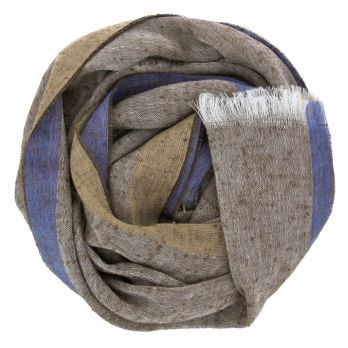 Linen and silk brown scarf