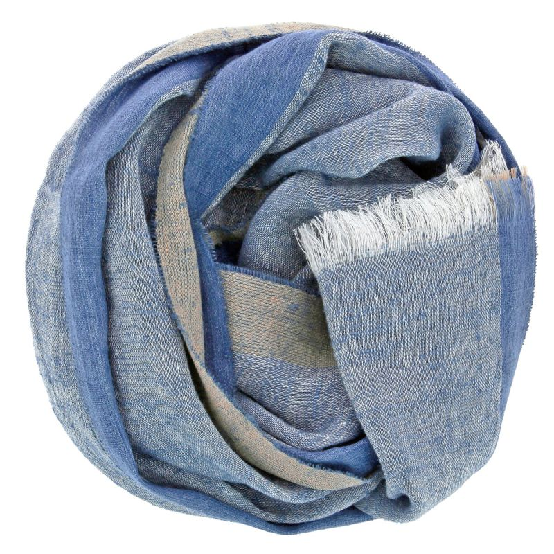 Linen and silk blue scarf