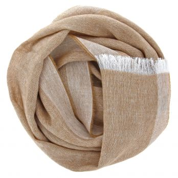 Cashmere and linen camel scarf