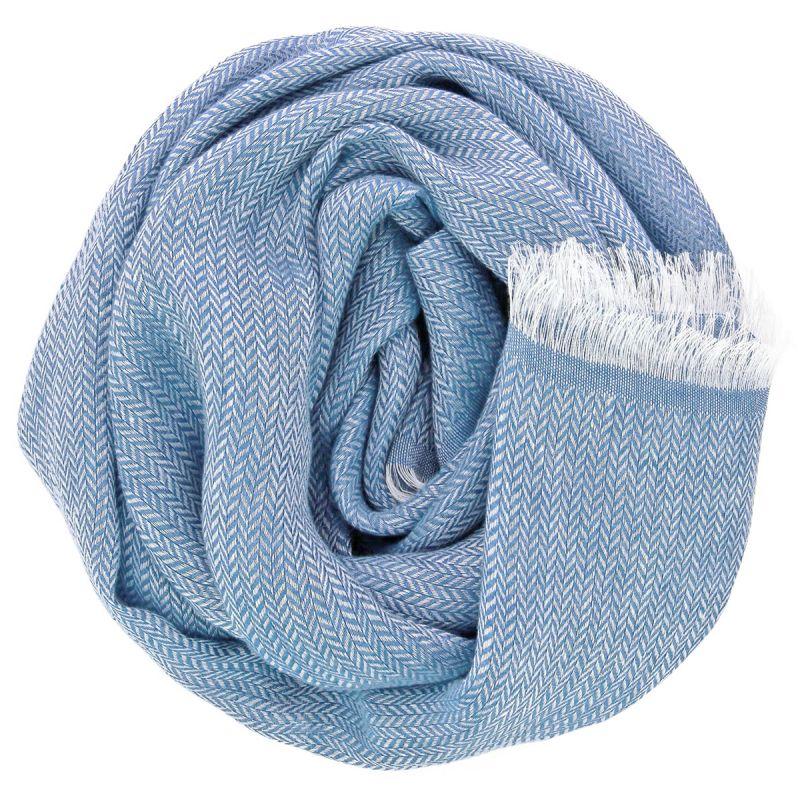 Linen scarf with herringbone pattern blue