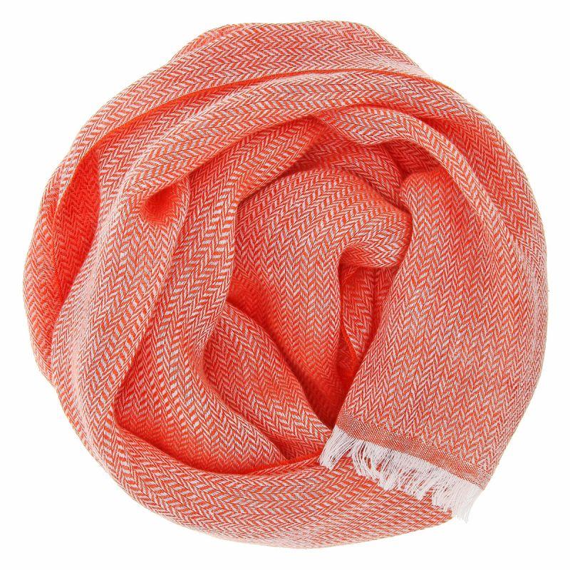 Linen scarf with herringbone pattern orange