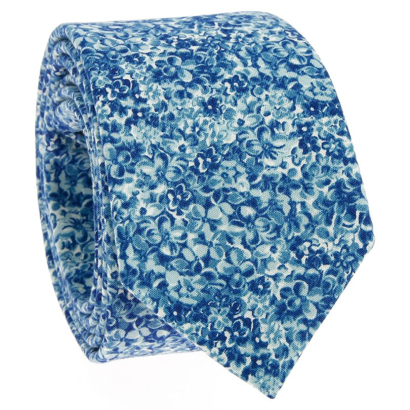 Blue Liberty tie with flowers - Osaka