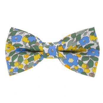 Yellow Liberty bow tie with flowers - Currant
