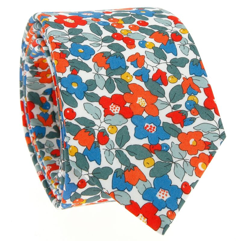 Coral Liberty tie with flowers - Currant