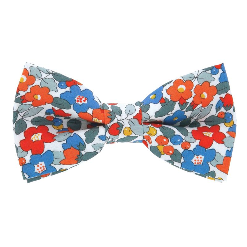 Coral Liberty bow tie with flowers - Currant