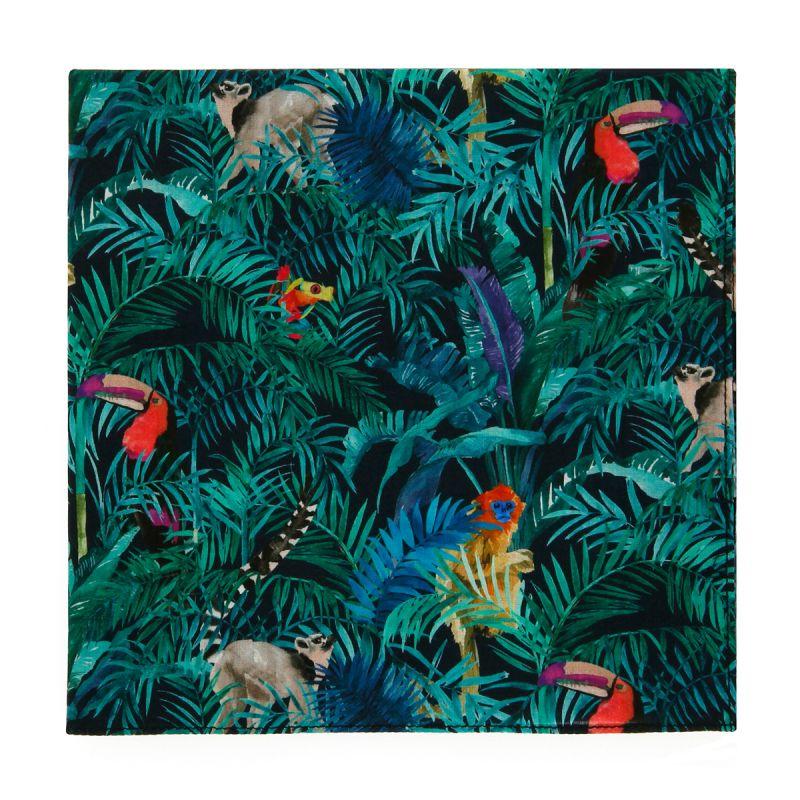 Green Liberty pocket square with jungle print