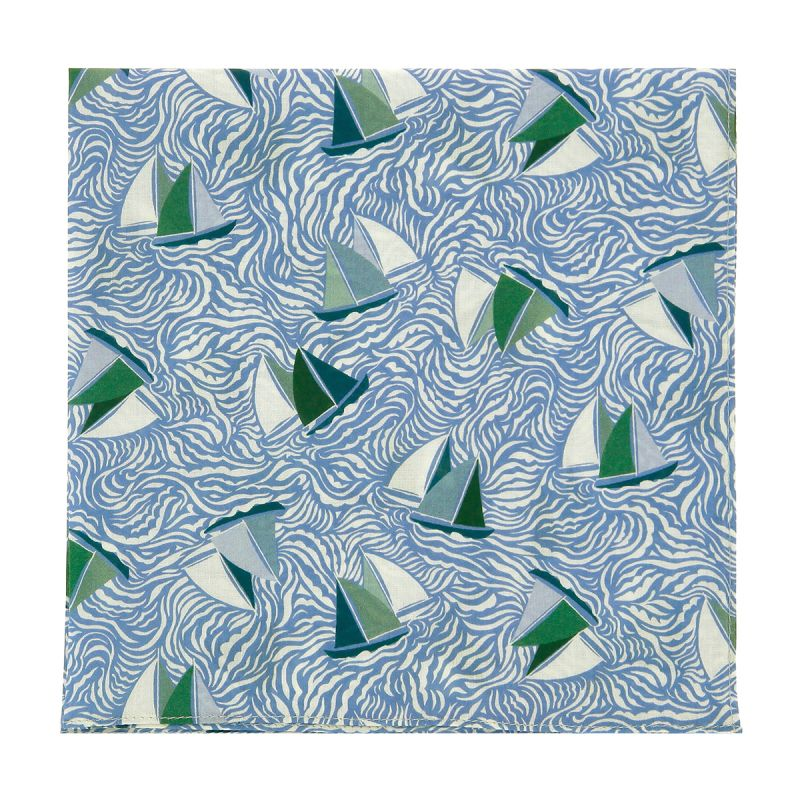 Green and blue Liberty pocket square with sailboat print
