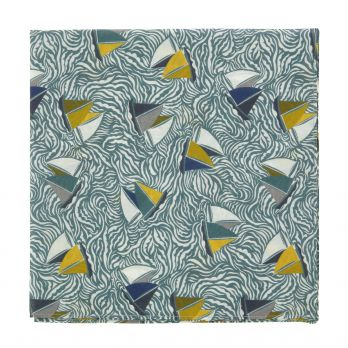 Blue and yellow Liberty pocket square with sailboat print
