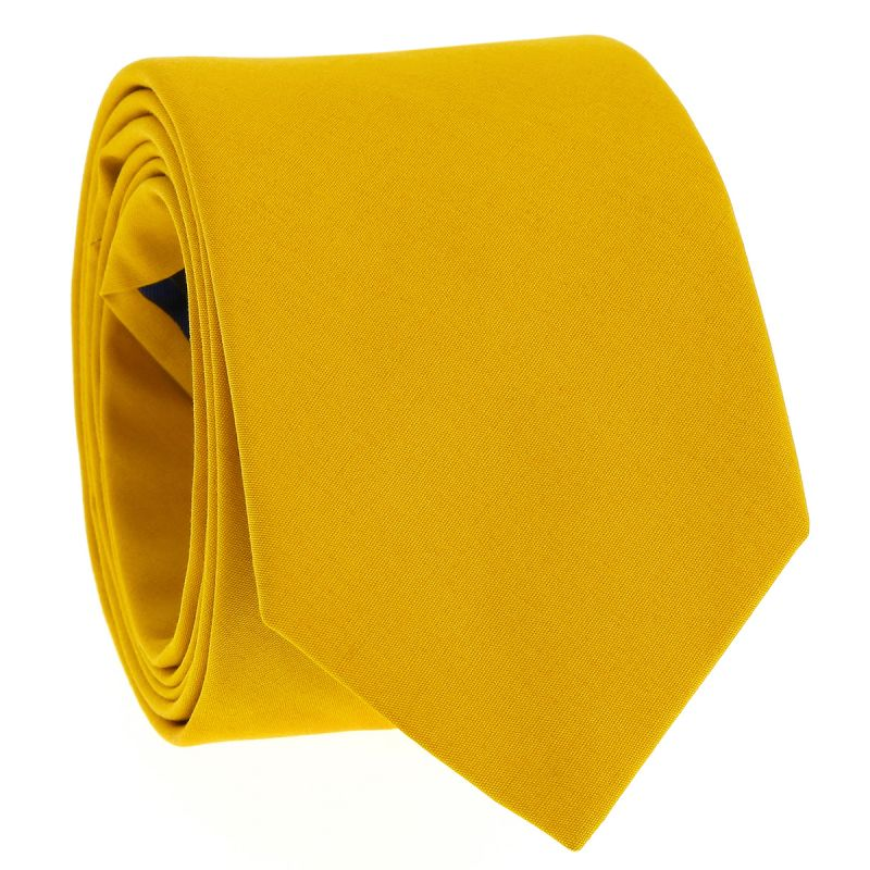 Mustard yellow cotton tie - Sorrente