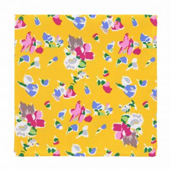 Yellow pocket square with flowers