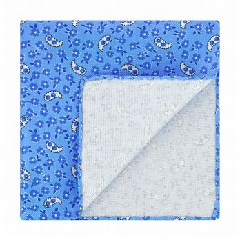 Light blue pocket square with flowers and paisley patterns