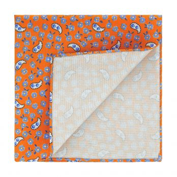 Orange pocket square with flowers and paisley patterns