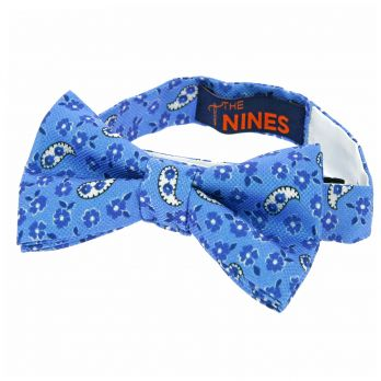 Light blue bow tie with flowers and paisley