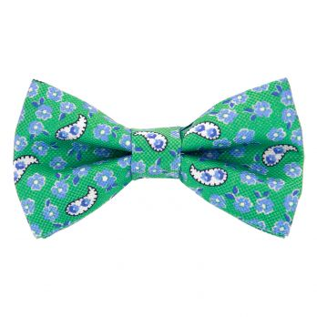 Green bow tie with flowers and paisley