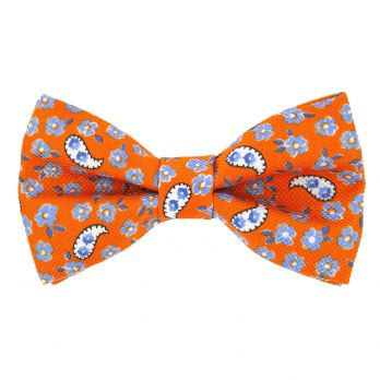 Orange bow tie with flowers and paisley