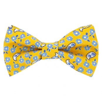 Yellow bow tie with flowers and paisley