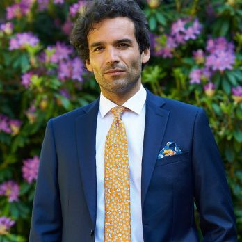 Blue pocket square with flowers