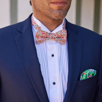 Green pocket square with flowers