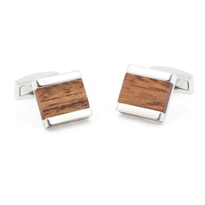 Bubinga wood squared cufflinks - Minkebe