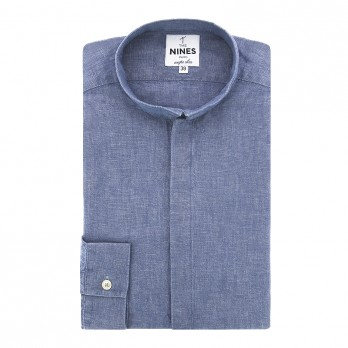 Chambray shirt in linen and cotton - reverse collar