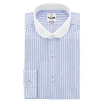 Contrast collar shirt in striped oxford