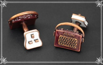 Babette Wasserman cufflinks - Retro Radio and Plug