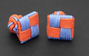 Squared orange and sky blue silk knots - Manille