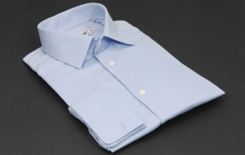 Slim fit shirt, blue twill weave, classic spread collar