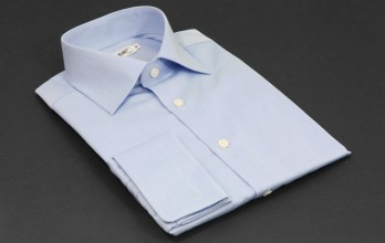 Standard fit shirt, blue poplin weave, classic spread collar