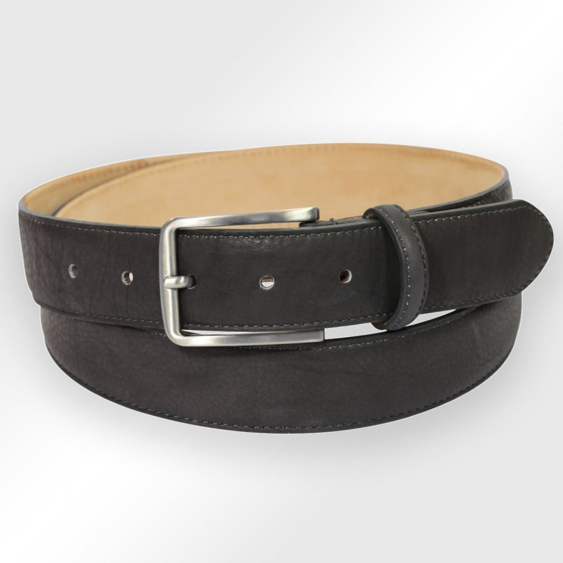 charcoal gray stitched leather belt the belt factory