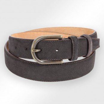 Suede belt in brown grain leather - Gene