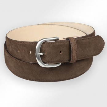 Suede belt in dark brown - Morgan