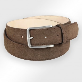 Men's belt in dark brown suede - Tom