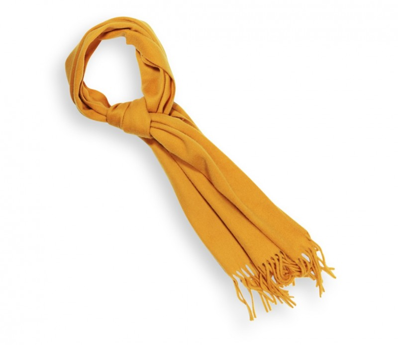 Echarpe unie en laine moutarde - Sacha