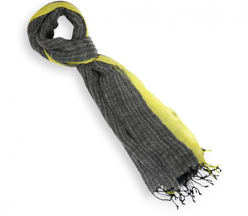 Echarpe grise à bordures jaune fluo - Petra