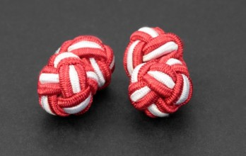 Red and white silk knots - Bombay