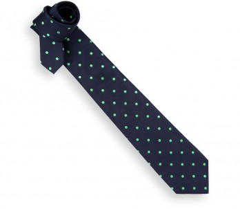 Navy Blue Tie with Apple Green Dots - Paris V