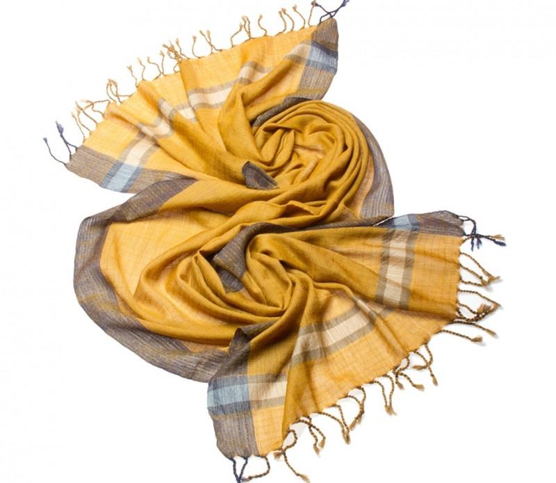 Echarpe brune à pois moutarde - Meg