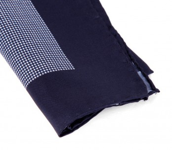 Navy Blue with Houndstooth Pattern Pocket Square - Warren