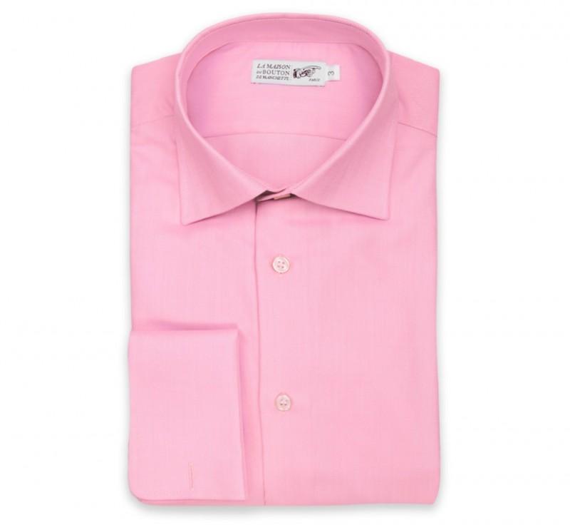 Slim Fit Pink Herringbone Classic Collar Double Cuff Shirt